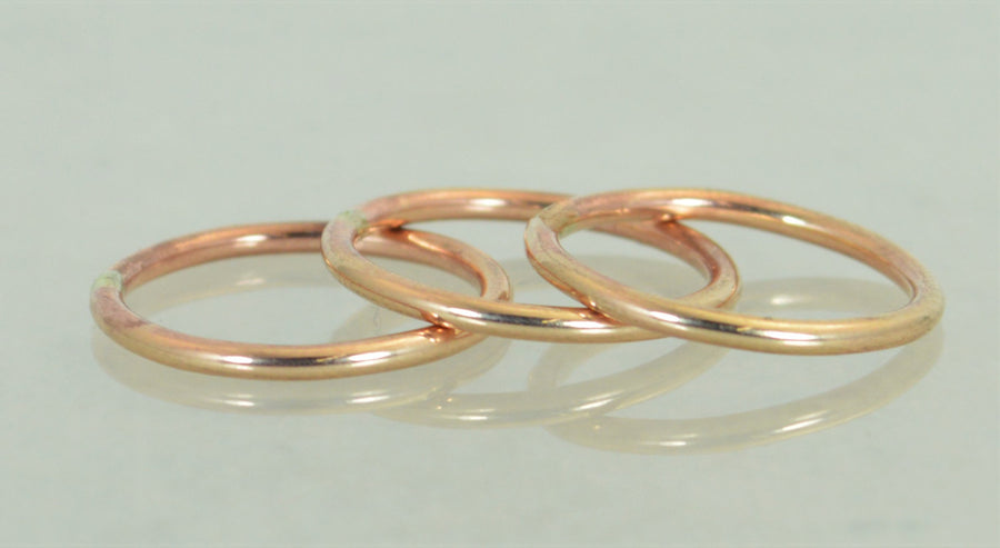 Round Classic Bronze Stacking Rings