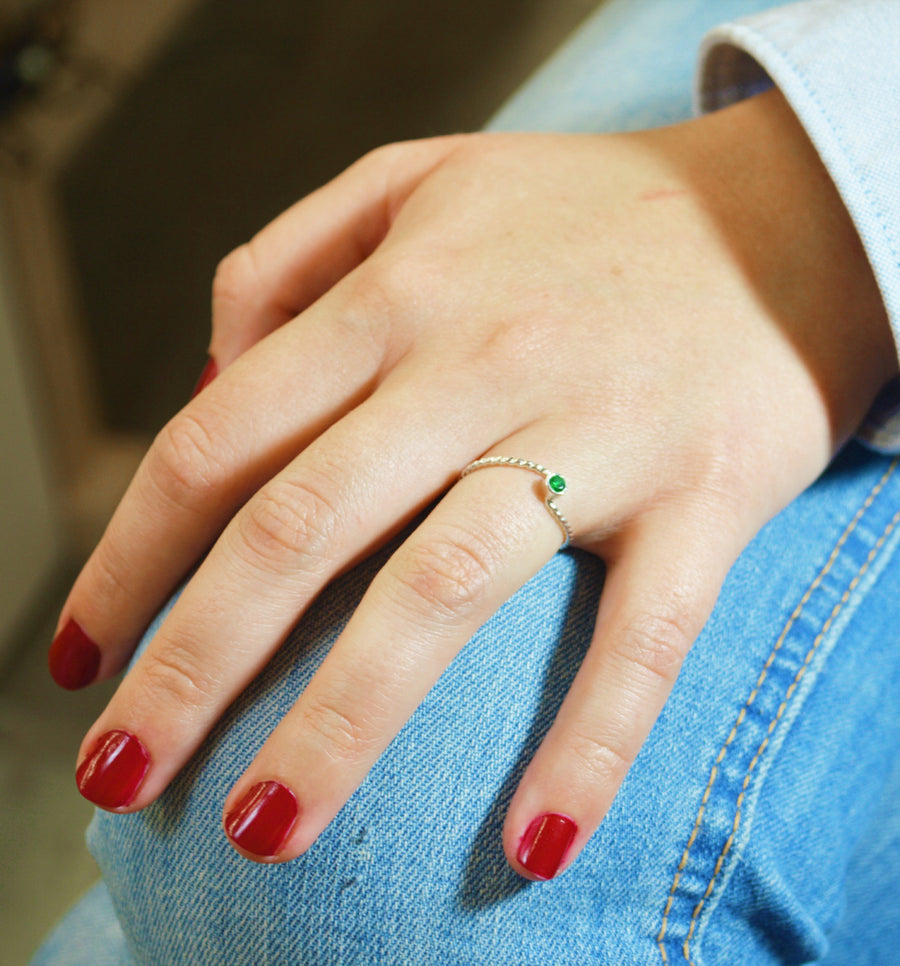 Emerald Silver Wave Ring