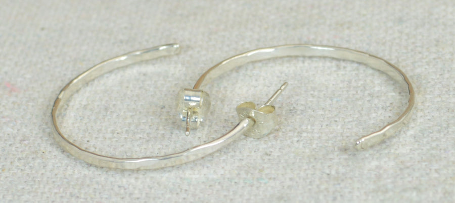 Sterling Silver Hammered Open Hoop Earrings