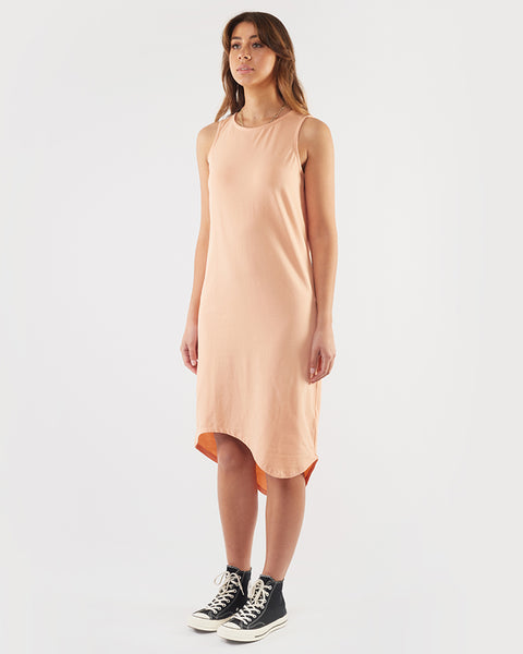SILENT THEORY - One In Eight Stripe Midi Dress - PEACH