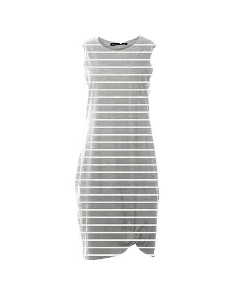 SILENT THEORY - Twisted Tank Dress - Grey Stripe