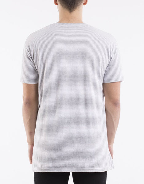 SILENT THEORY Stripe Pocket Tee Grey