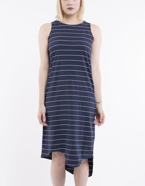 SILENT THEORY - One In Eight Stripe Midi Dress - Navy