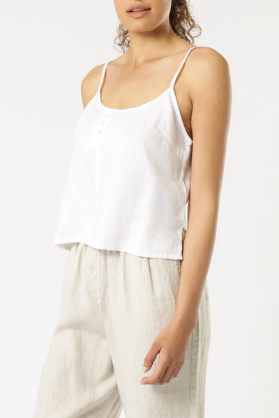 NUDE LUCY - Linen Lounge Cami - WHITE