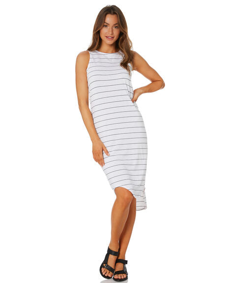 SILENT THEORY - One In Eight Stripe Midi Dress - WHITE / NAVY STRIPE