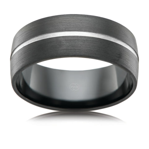 Black Zirconium Groove Ring