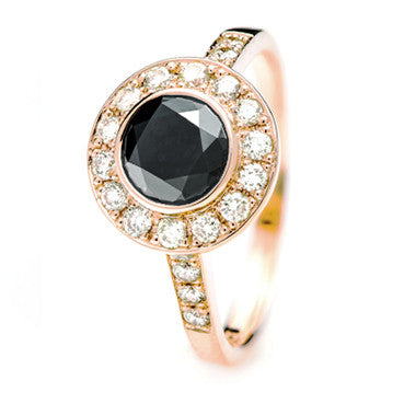 Rose Gold Ring with Black Diamond centre and Natural Yellow Diamond Halo