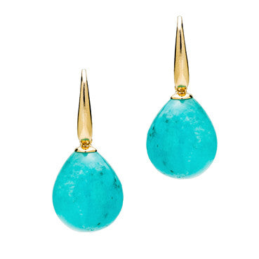 Blue Amazonite Earrings in Yellow gold.