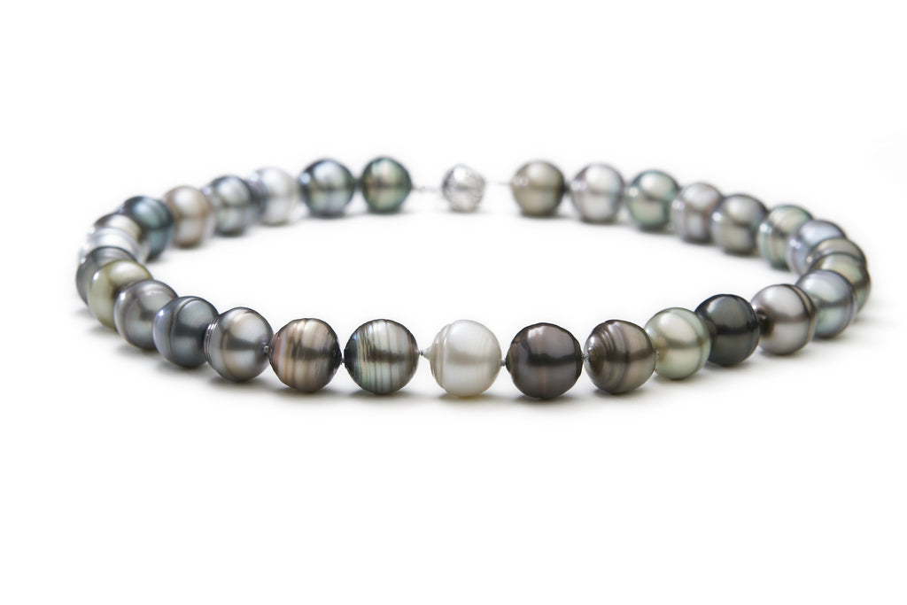 Black Pearl Necklace Multicolour Tahitian Pearls