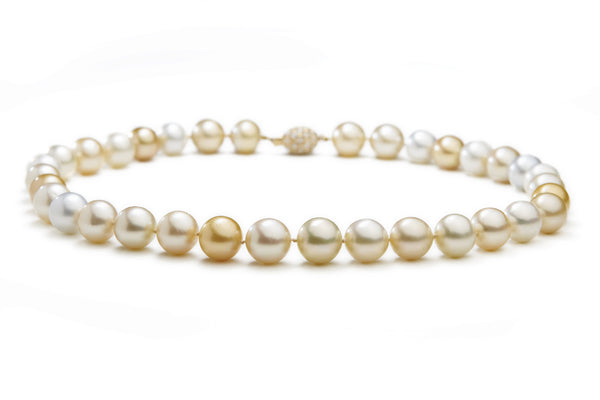 Natural, White, Champagne and Golden South Sea Pearls Necklace