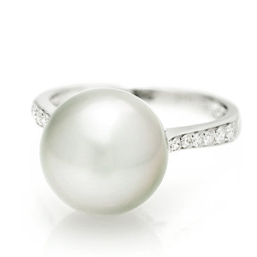 White Gold, Australian South Sea Pearl and Diamond Ring