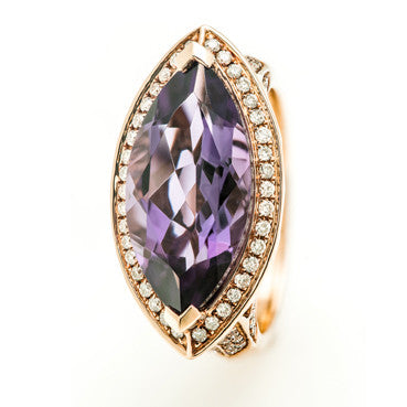 Rose Gold Marquise Cut African Amethyst with a Diamond Filligree Halo