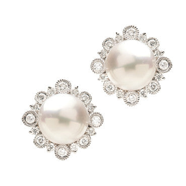 White Gold Akoya Pearl Earrings with Diamonds