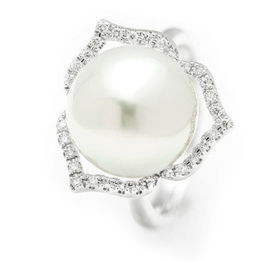 White Gold ring with a Natural Australian South Sea Pearl with a Diamond Halo