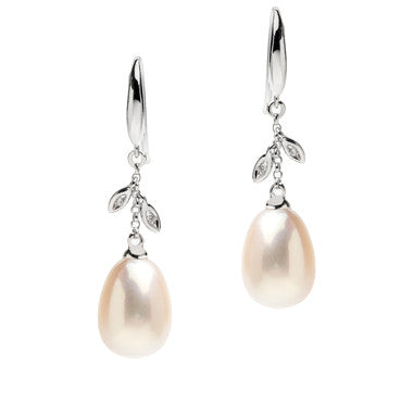 White Gold Fresh Water Pearl Drops with Diamond Petals