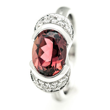 White Gold Tulip Ring with Part Bezel Set Pink Tourmaline with Pavé Set Petal Shoulders
