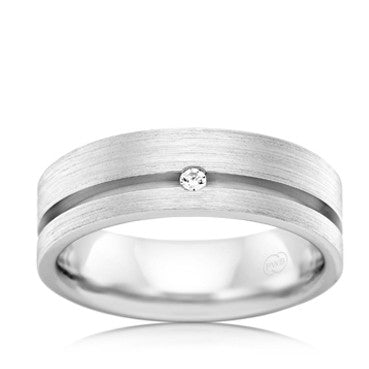 White Gold Brushed Finish Gent's Ring