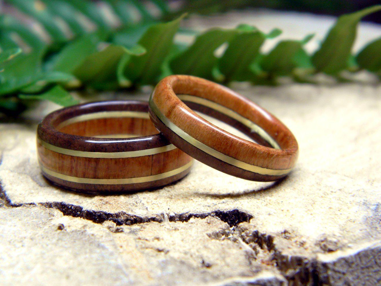 Cherry And Walnut Wood Wedding Bands Set Rings: Walnut Wood Wedding Rings At Websimilar.org