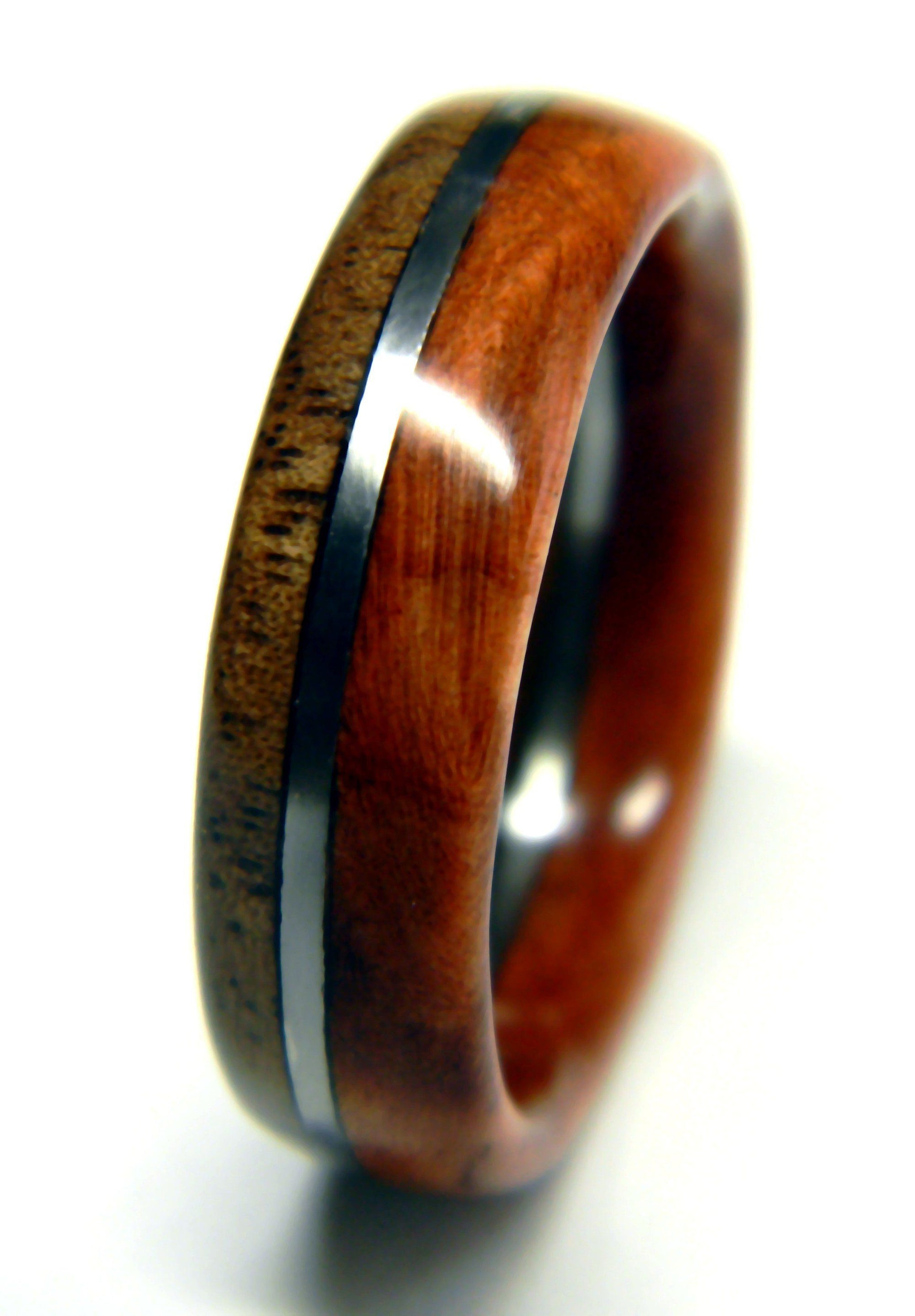 Walnut and Redwood Burl Mens Wooden Ring