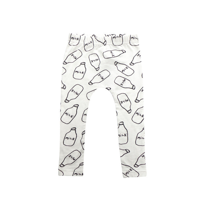 LEGGINGS | MILK BOTTLE | COTTON (WHITE) - Cooper's Crib
