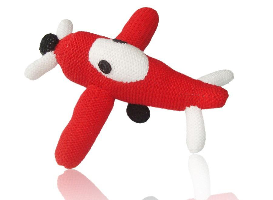 airplane rattle, organic cotton