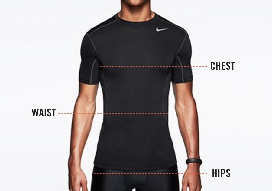 Nike body measurements for men's tops