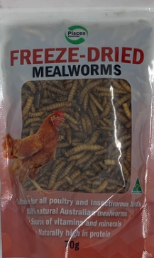 Pisces Freezedried Mealworms Poultry 70g Bag