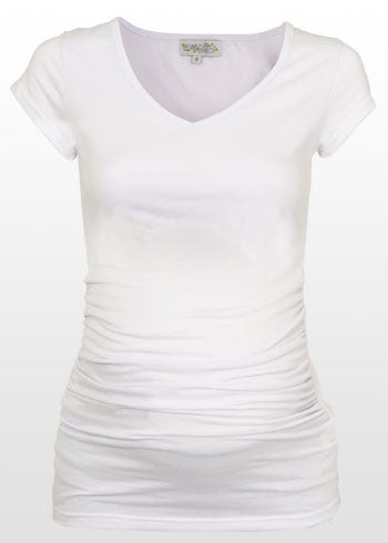 Ruched White maternity t-shirt