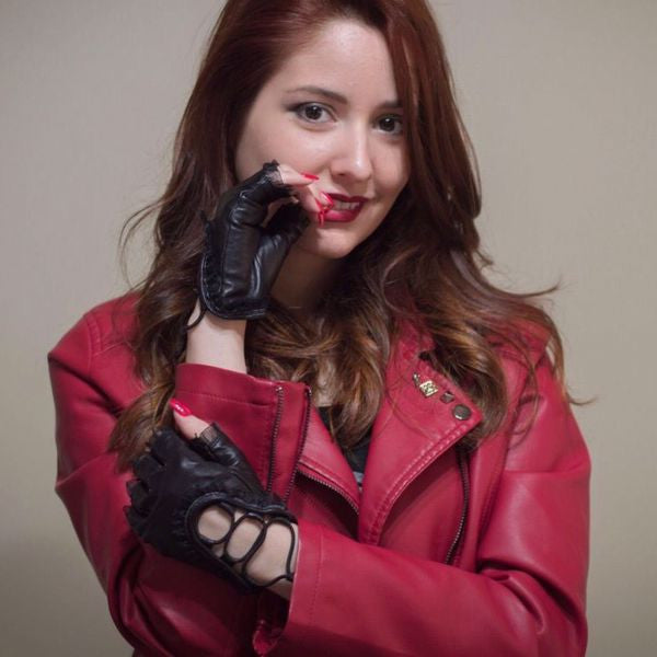 Dark fashion Lace Women fingerless driving leather gloves review by brunnahnunnes