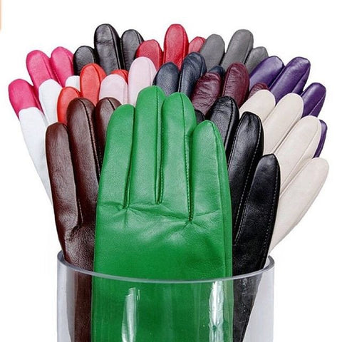 women winter leather gloves