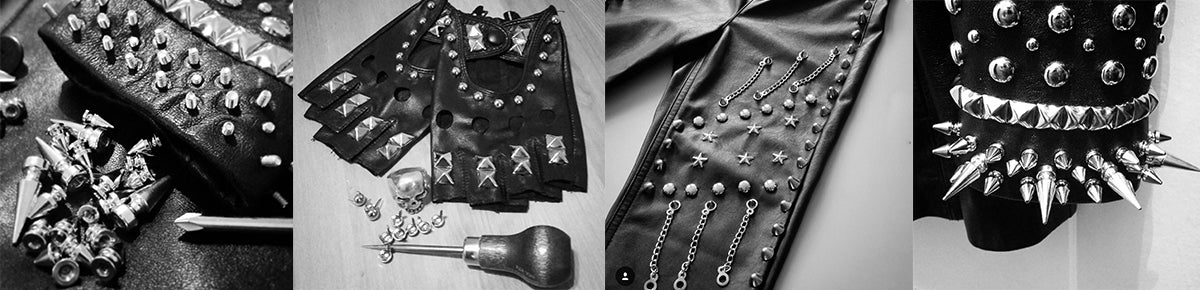 studded & spiked leather gloves
