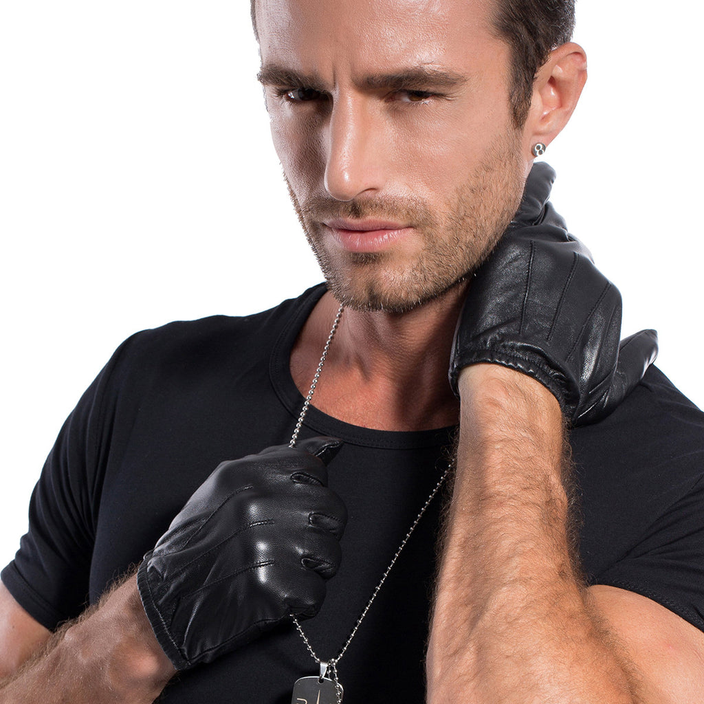 Leather gloves mens amazon -  Matsu X Amazon Men Lambskin Driving Short Leather Gloves Unlined M1063