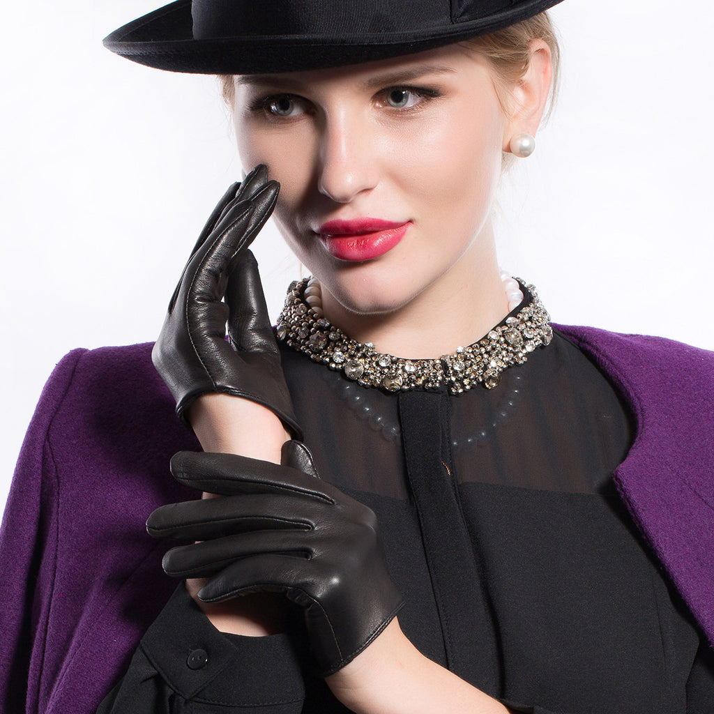 Ladies unlined leather driving gloves -  Matsu X Amazon Women Lambskin Half Palm Leather Driving Gloves Unlined M9248