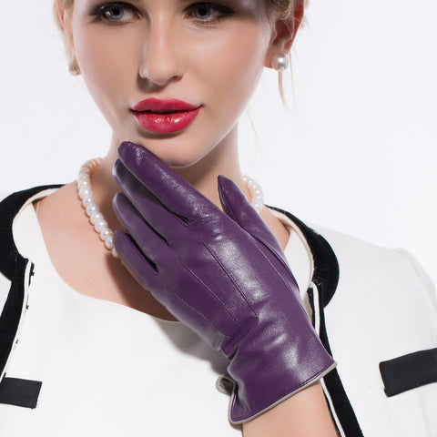 ON SALES Women Lambskin Leather Gloves 100% Cashmere Lined Touchscreen M9906