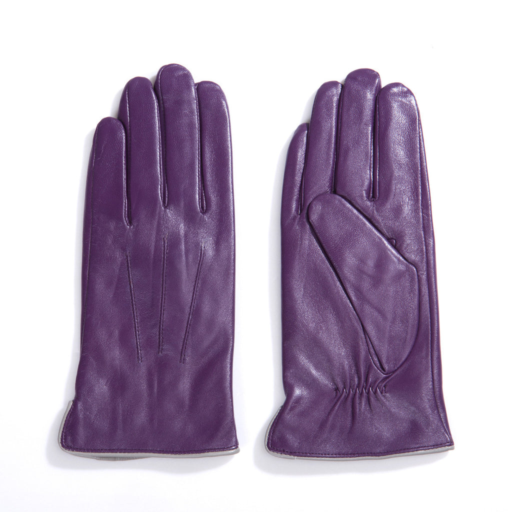 Womens leather gloves purple -  On Sales Women Lambskin Leather Gloves 100 Cashmere Lined Touchscreen M9906