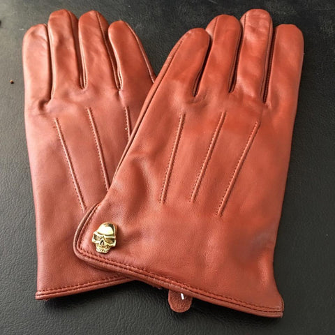 [Matsu X Benny] Men Lambskin Red Brown Leather Gloves With Skull Design