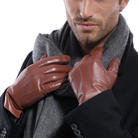 ON SALES Men Lambskin Leather Gloves Red Brown M1006