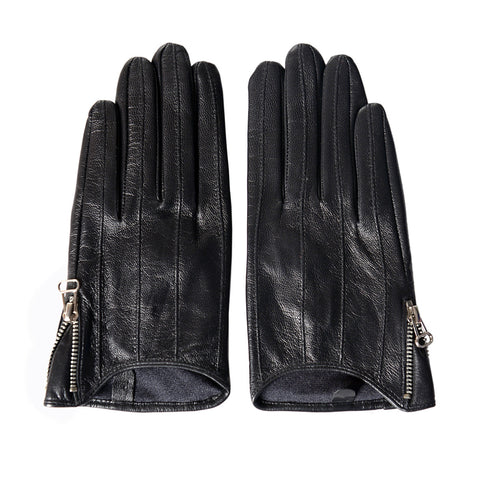 [MATSU X AMAZON] Women Lambskin Leather Gloves with zipper  M9137