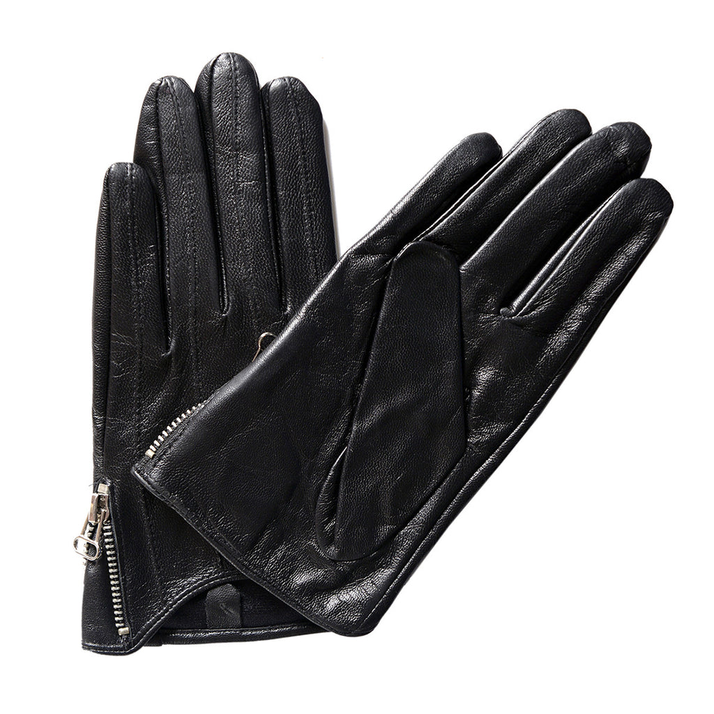 Leather driving gloves with zipper -  Matsu Custom Made Lambskin Driving With Zipper Driving Leather Gloves