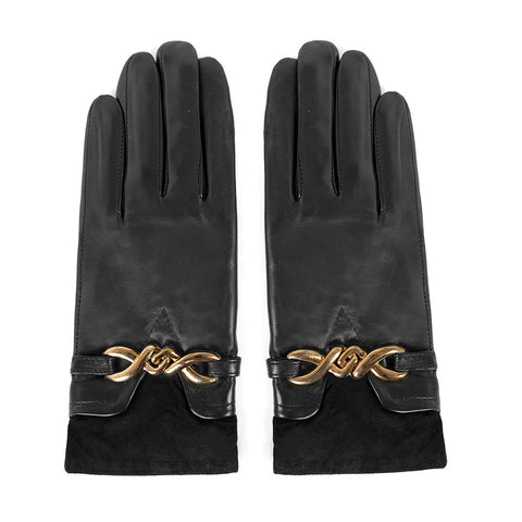 [MATSU X AMAZON] Women Lambskin Leather Gloves with Gold Bow M849