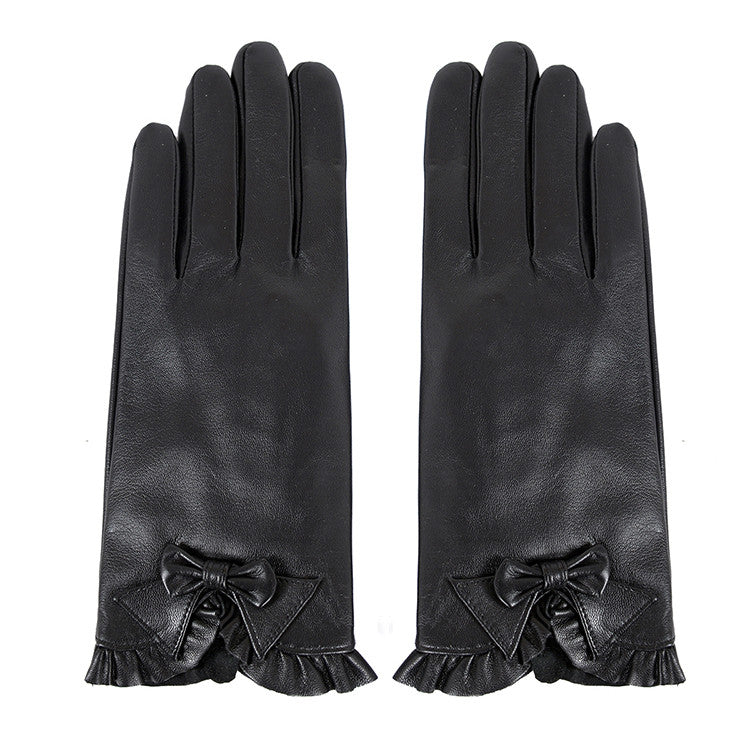Women Lambskin winter warm Leather Gloves m9171