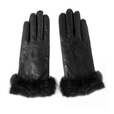 Women Lambskin winter warm Leather Gloves m9163