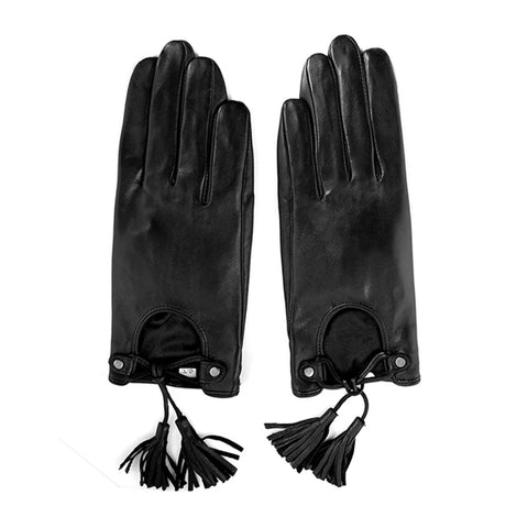 [ Matsu X Amazon ] Lambskin Women Driving Leather Gloves with TASSEL Nylon Lining M619