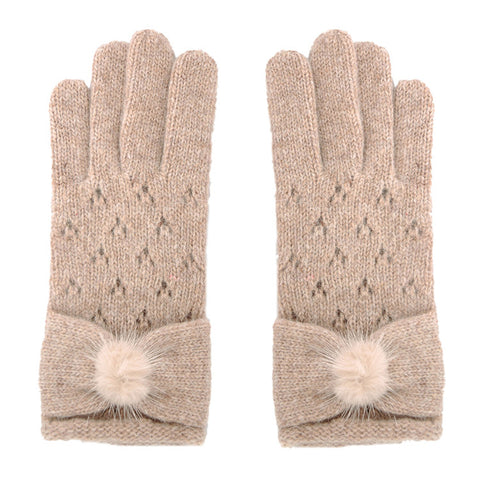 Women Wool Knit Mitten Winter Warm Gloves Hand Warmer GCG206