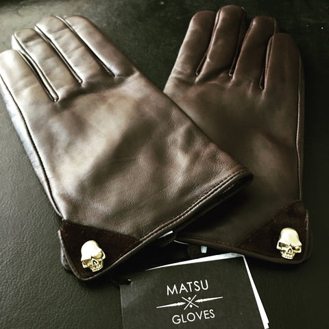 [Matsu X Benny] Men Lambskin Brown Leather Gloves With Skull Design