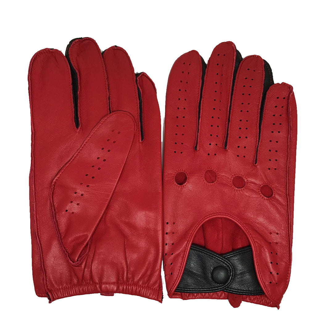 [MATSU X AMAZON ] Men Lambskin Driving Leather Gloves Unlined M1047 Red+Black