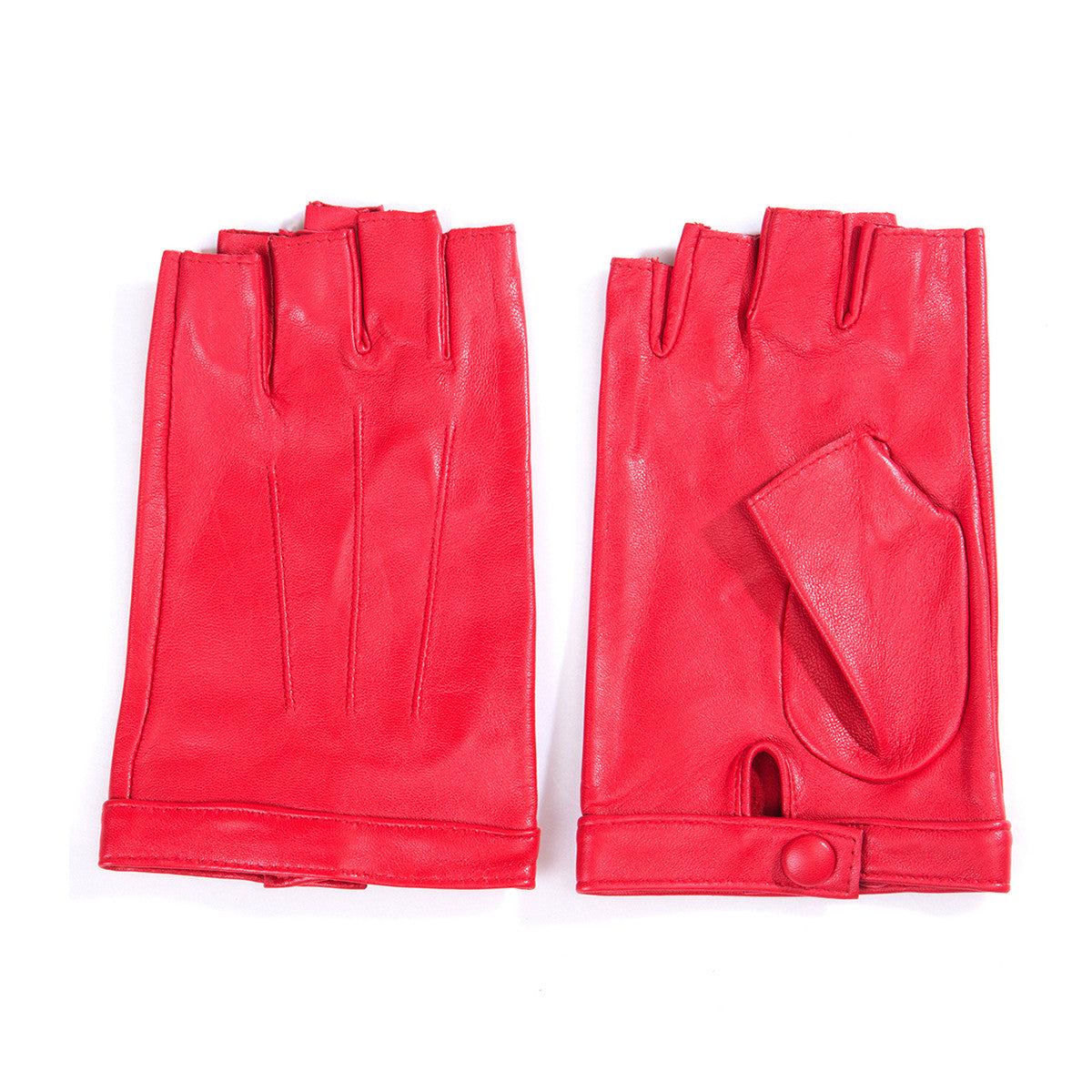 Red leather driving gloves womens -  Matsu Custom Made Lambskin Women Fingerless Leather Gloves