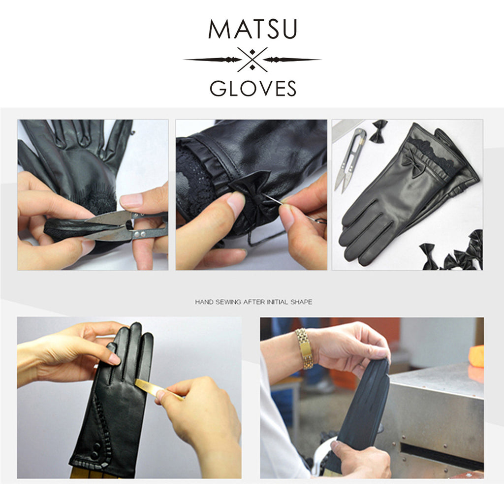 Tiger leather driving gloves - Matsu Custom Made Women Or Men Lambskin Elbow Opera Long Leather Gloves