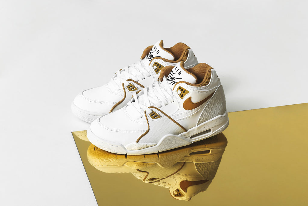 "New Nike Air Flight 89 ""Python White/Gold"""