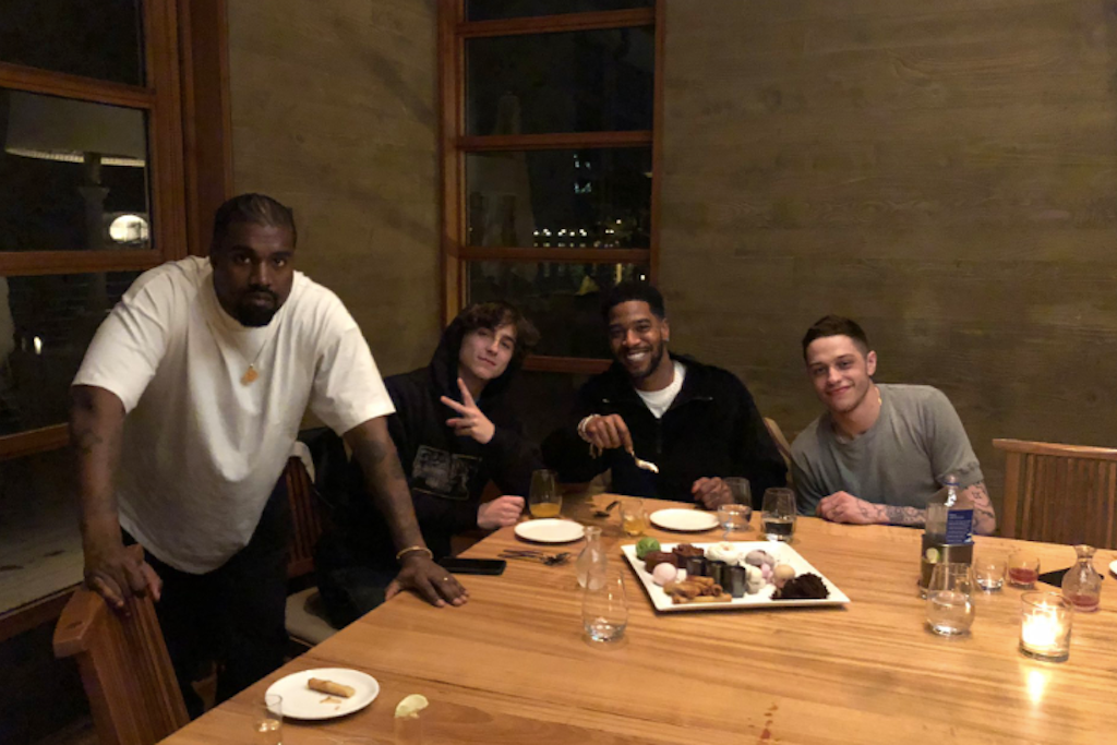 Kid Cudi Hangs With Kanye, Pete Davidson & Timothée Chalamet For Bday